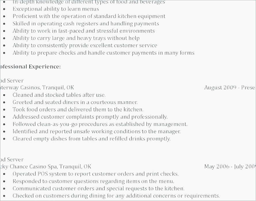 Fast food resume sample new sample restaurant resume 22