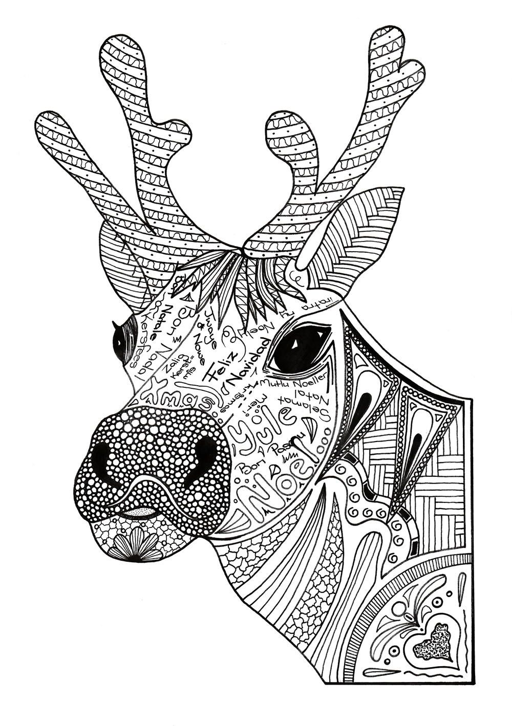 Christmas Reindeer Adult Coloring Page Coloring Pages