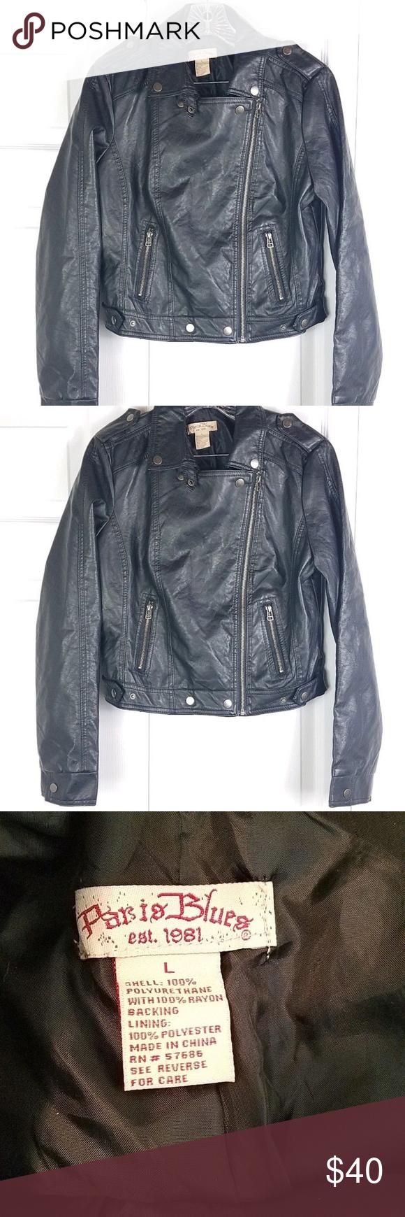 Paris Blues Black Pleather Motorcycle Jacket Paris Blues Womens Black Pleather Asymmetric Cropped Moto Jacket Size L B Jackets Cropped Moto Jacket Pleather [ 1740 x 580 Pixel ]
