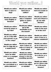 picture about Would You Rather Cards Printable named English worksheet: Would your self really? Talking Playing cards
