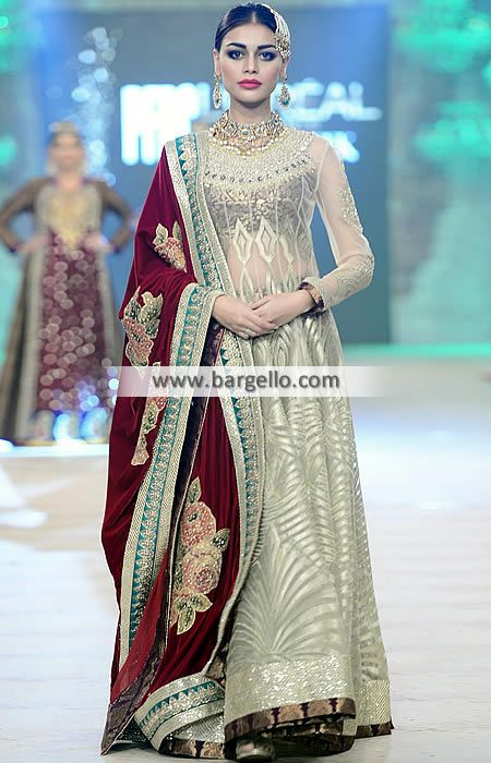 024a0c72c3 D4964 Fabulous Bridal Dress with Velvet Dupatta and Banarasi Lehenga - UK  USA Canada Australia Saudi
