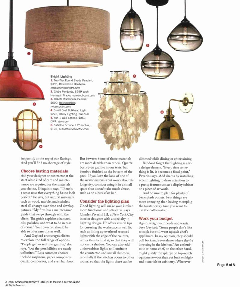 Rejuvenation In the Press: our Carson fixture as seen in Consumer Reports July 2013 issue.