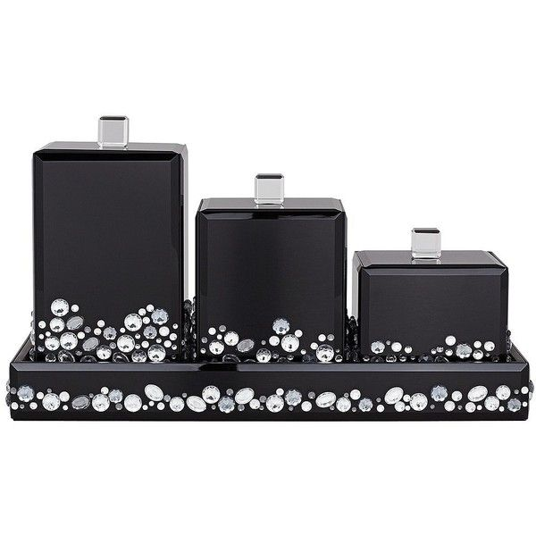 Jeweled Black Mirror Canister 4 Piece Bathroom Accessory Set (130 NZD) ❤  Liked