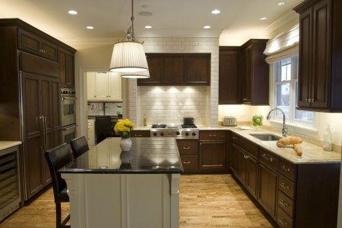 dark cabinets, light island med/light floors cocinas Pinterest