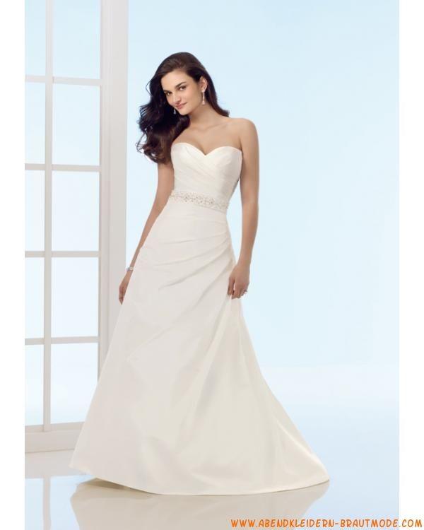 2012 Schlichtes langes Brautkleid aus Satin und Organza A-Linie ...