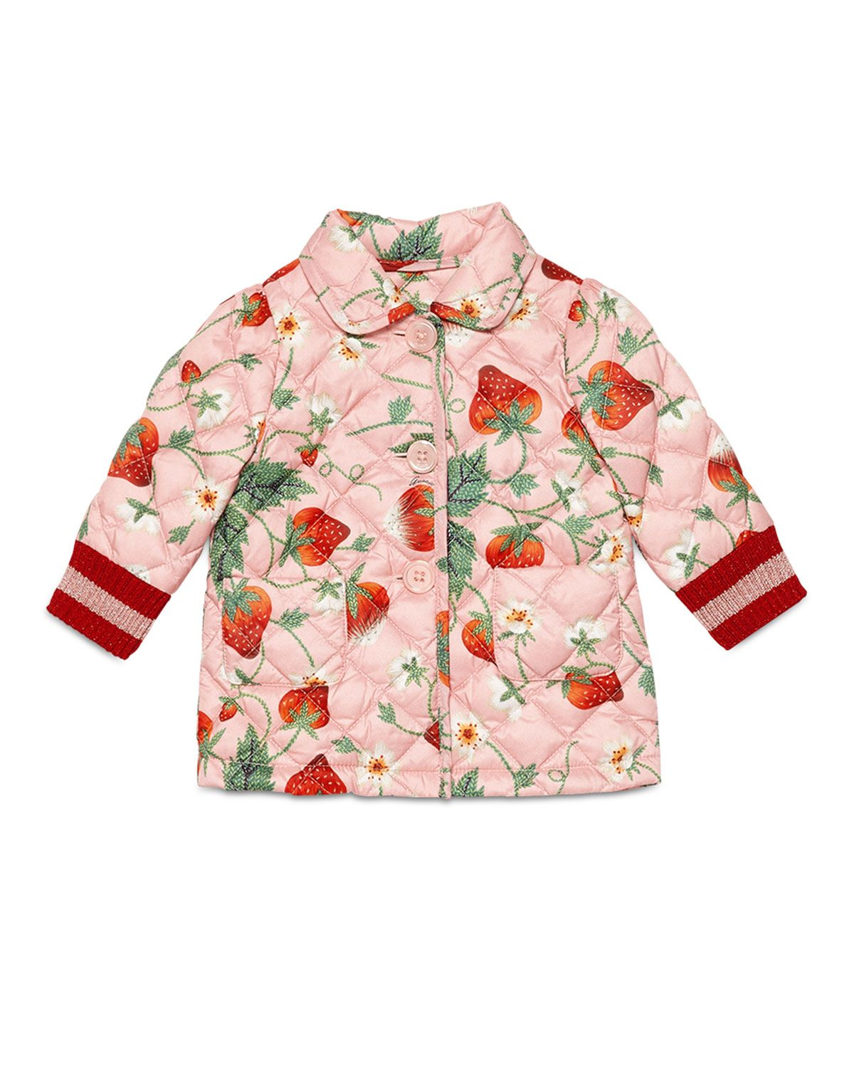 56bc20461 Gucci Quilted Button-Front Strawberry-Print Jacket, Mellow Rose, Size 18-36  Months, Size: 18-24 Months