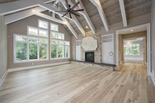 Great Room Family Room With Cathedral Ceiling And Exposed Beams Creek Hill Custom Homes Cathedral Ceiling Living Room Great Rooms Ceiling Beams Living Room