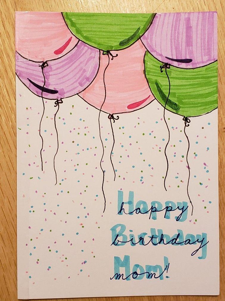 Festive Birthday Card Idea For A Hand Made Card For A Mom Birthday Card Drawing Happy Birthday Cards Diy Birthday Cards For Mom