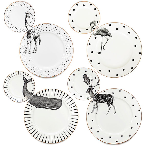 A set of 4 unique matching dinner and side plates with quirky Animal illustrations and gilt gold detailing. Created by Yvonne Ellen this fun and Mais  sc 1 st  Pinterest & Animal Plate Set | Side plates Dinners and Animal