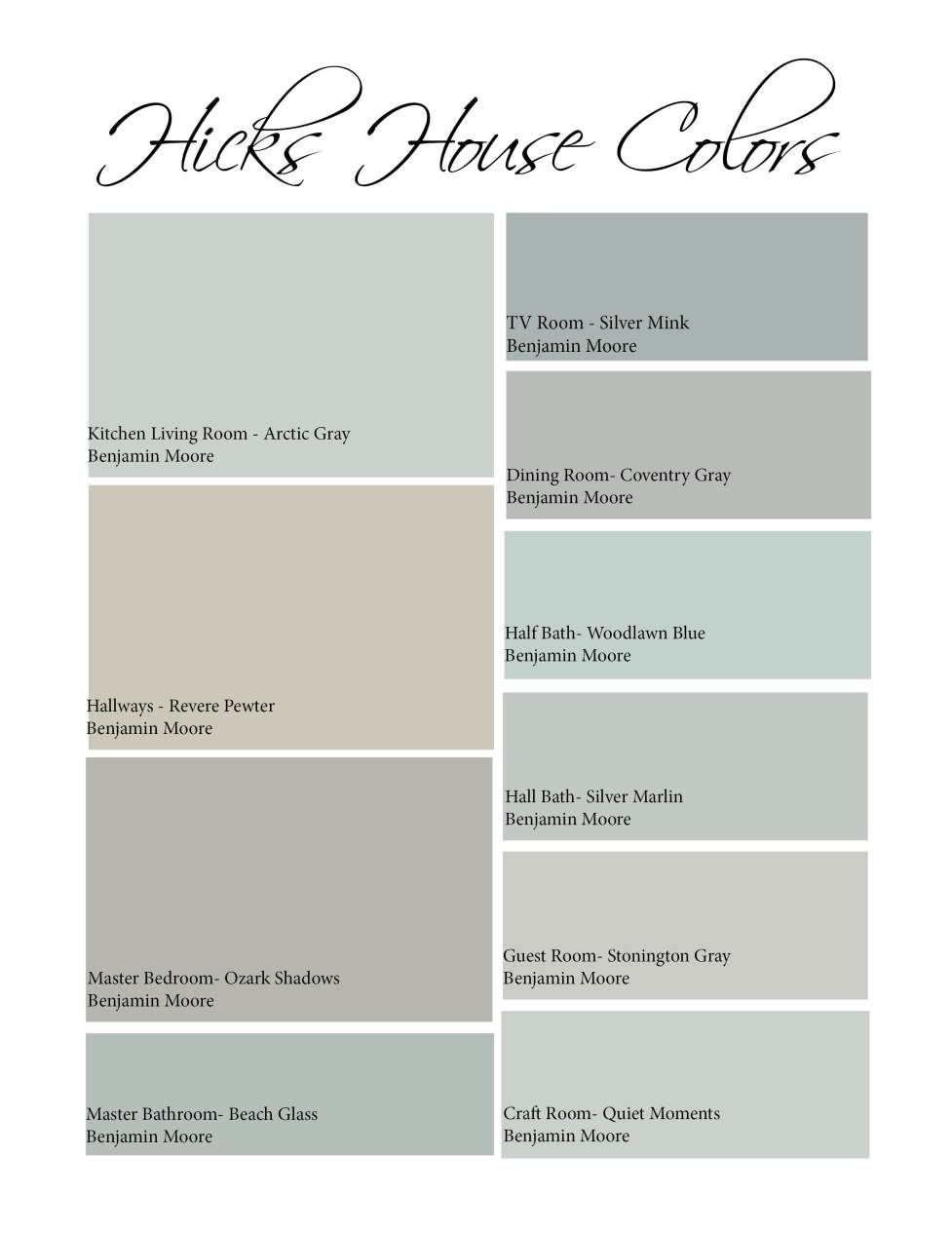 Gray interior paint color schemes - Hicks House Color Scheme Revere Pewter