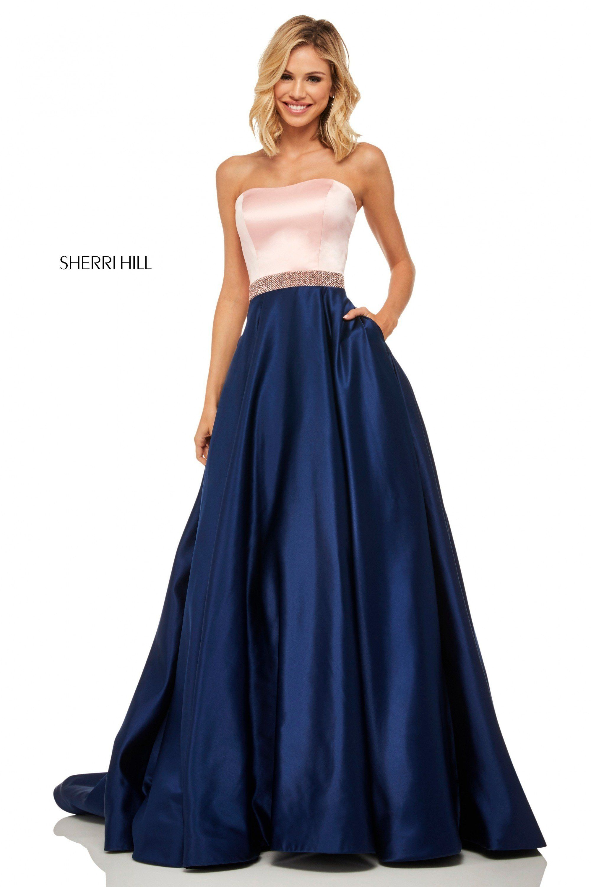 26a3041ef9c Sherri Hill 52776 Blush Navy Color Block A-Line Ball Gown with Pockets