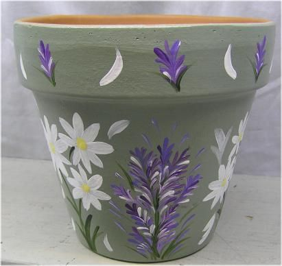 Sage Green Pot With Daisies Lavender 6 Wide By 6 High Flickr Painted Terra Cotta Flower Pots Flower Pot Design Clay Flower Pots