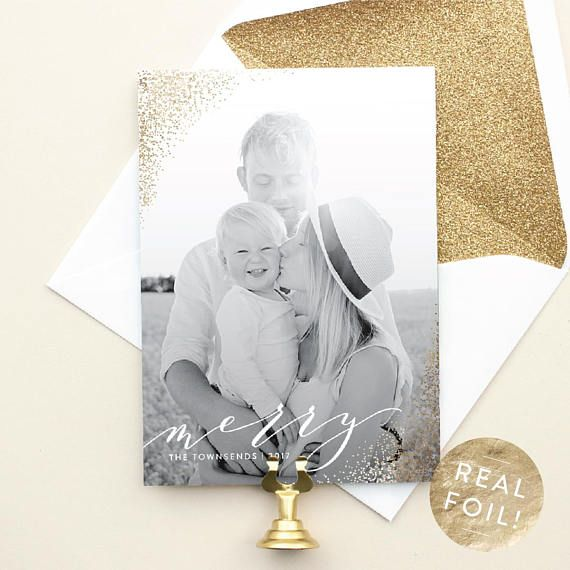 christmas cards with vertical photo gold foil christmas photo cards modern christmas cards foil - Foil Christmas Cards