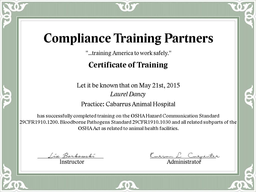 HPCT Training Certificate Training certificate, Train