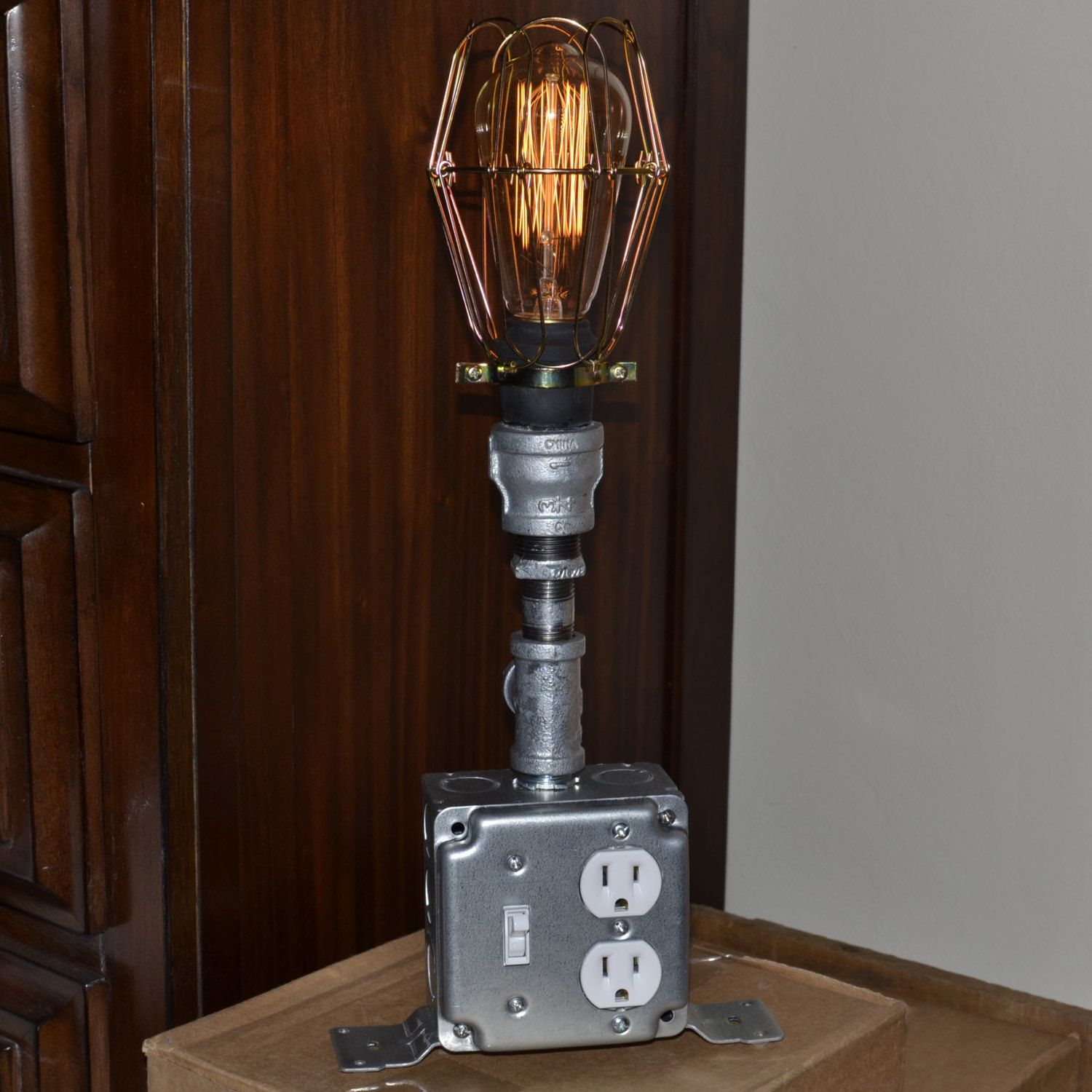 Upscaled recycled industrial lamp home decor lighting steampunk upscaled recycled industrial lamp home decor lighting steampunk light lamp with outlet and geotapseo Images