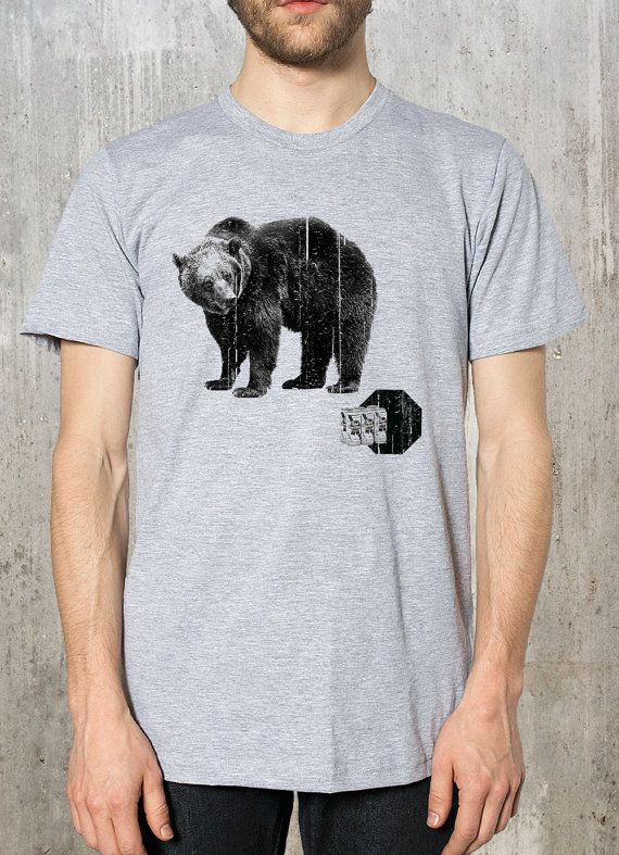 Mens t shirt a life outdoors screen printed mens t shirt grizzly bear and pabst beer mens t shirt black print on heather grey shirt on etsy 2422 cad publicscrutiny Gallery