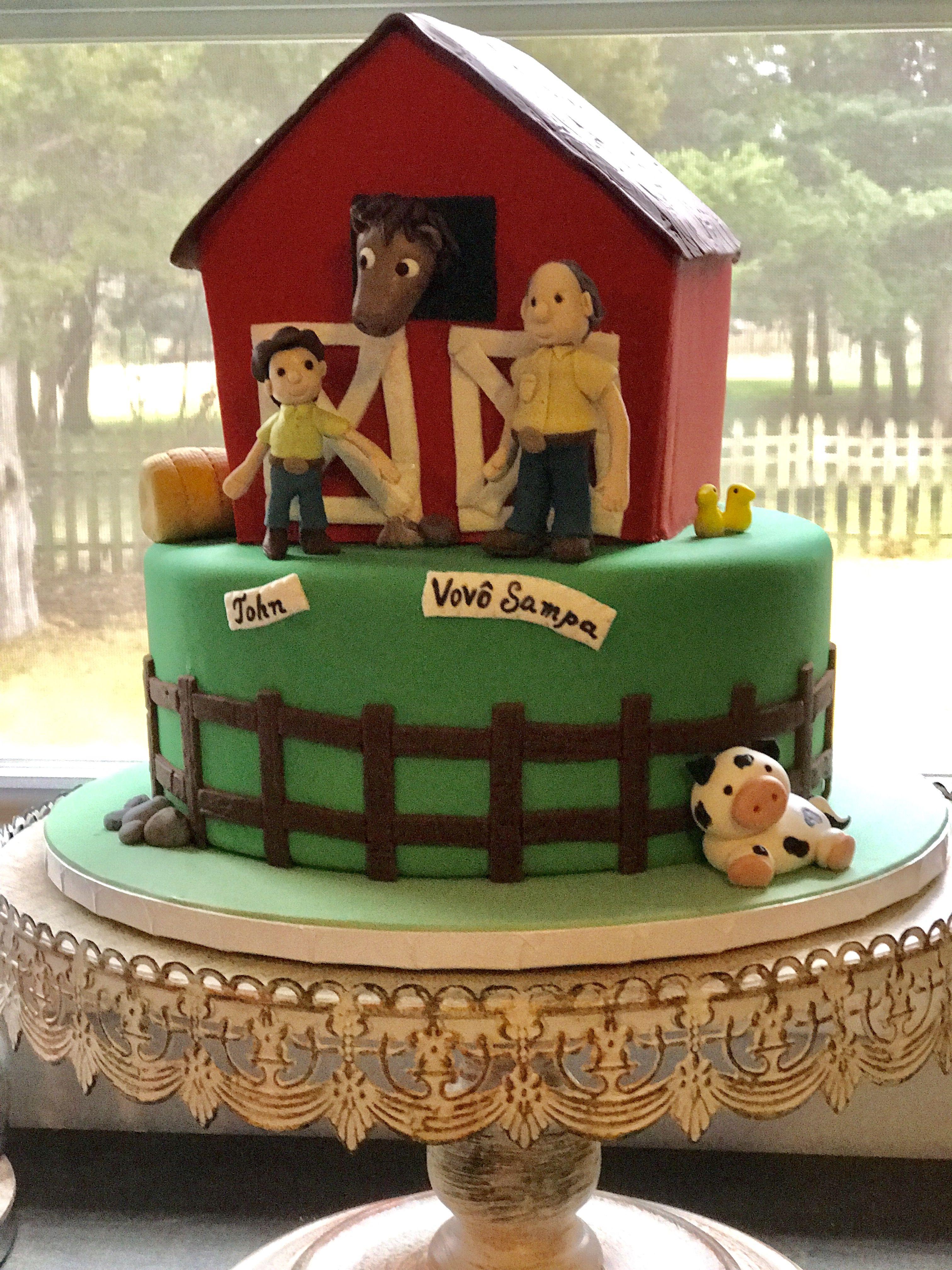 A double birthday cake to john and his grandpa kids