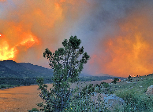 View of High Park Fire from Horsetooth Reservoir, Fort