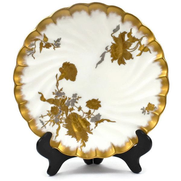 Antique Cabinet Plate Oriental Pattern, Gold Encrusted Plate,... ($110) ❤ liked on Polyvore featuring home, kitchen & dining and dinnerware