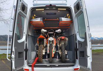 Our Vans Custom Sprinter Camping Van Toy Hauler 4x4