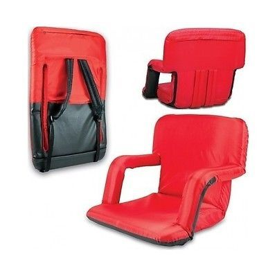 Stadium Seat Cushions Red Recliner Portable Bleacher Chair Back Arms Folding  Pad
