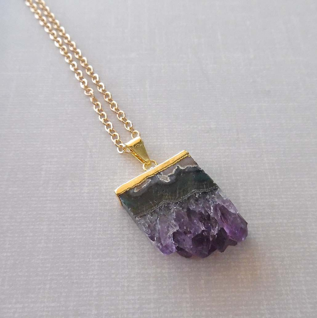 chain geode pendant natural amethyst crystal jewelry quartz purple raw slice necklaces gold