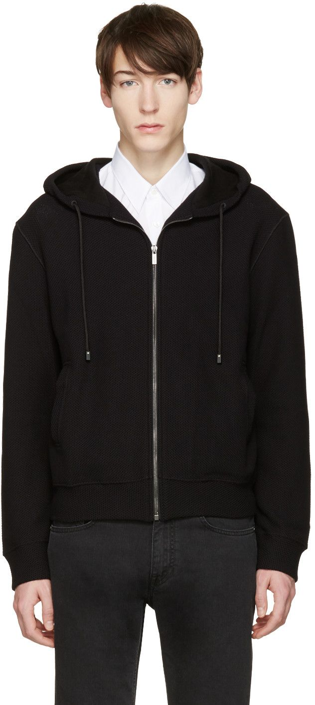 CALVIN KLEIN COLLECTION Black Pelver Hoodie. #calvinkleincollection #cloth #hoodie