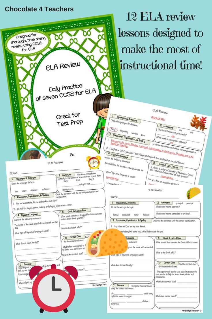 Ela Test Prep Daily Sheets Grades 5 8 Pinterest Teacher