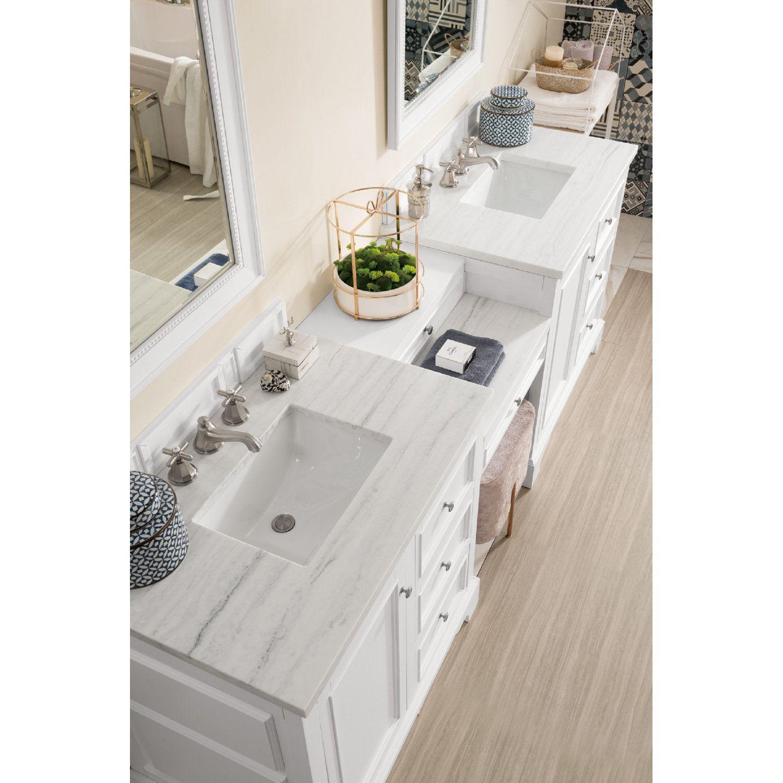 "De Soto 94"" Double Vanity w/ Makeup Table in Bright White"