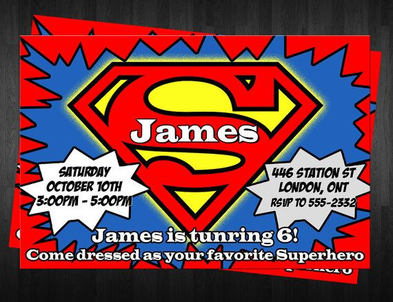 Superman Birthday Invitations Printable File Diy By Babysown 10 00
