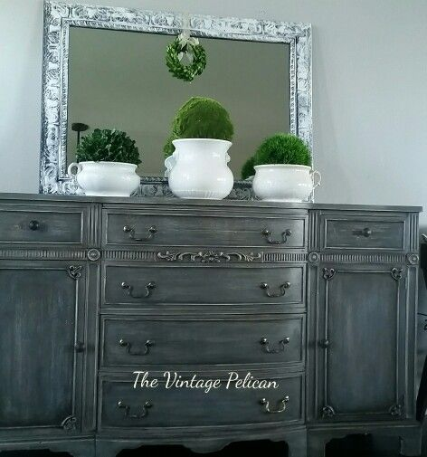 Buffet Painted With Ascp Paris Grey French Linen And