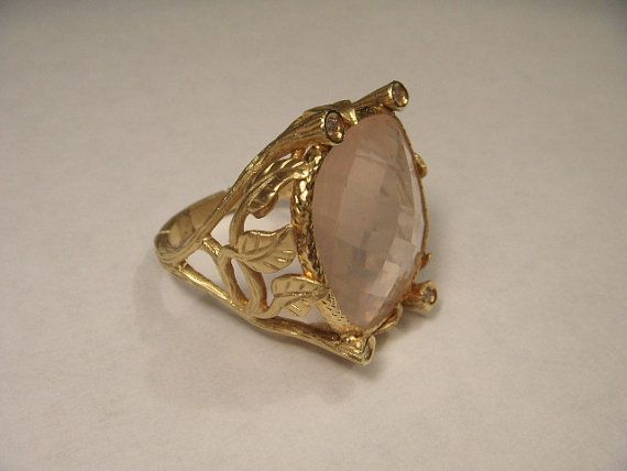 Magnificent Estate 14K Yellow Gold Rose Quartz by ggemsonline
