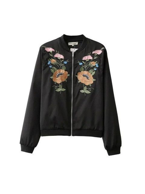 Women bomber jacket Black big size flower embroidery ladies spring coat female bomber jacket coat Slim