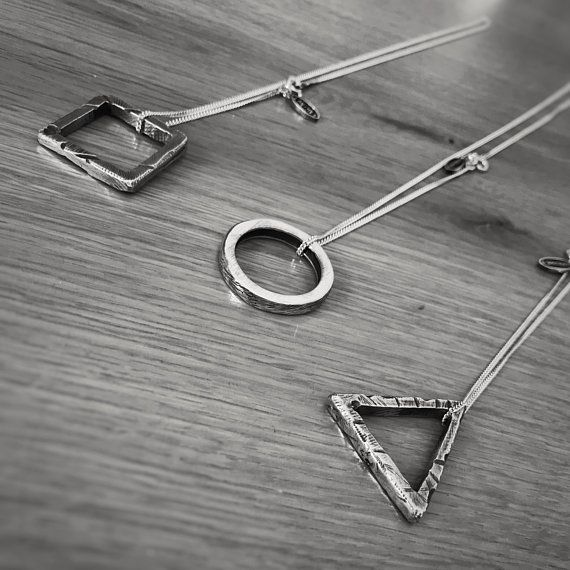 Square Necklace, Silver Necklace, Mens Necklace, Rustic Necklace, Hipsters Necklace, Gift For Him, Boho Necklace, Mens Jewelry, Triangle is part of Clothes Hipster Necklaces - Sharvit   Thank you, Avi
