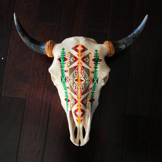 Hand Painted Bison Skull by Alexandra Studio | Inspiring ...