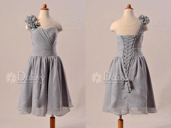 Short Grey Chiffon Flowergirl Dress Custom Silver Gray Flower Girls