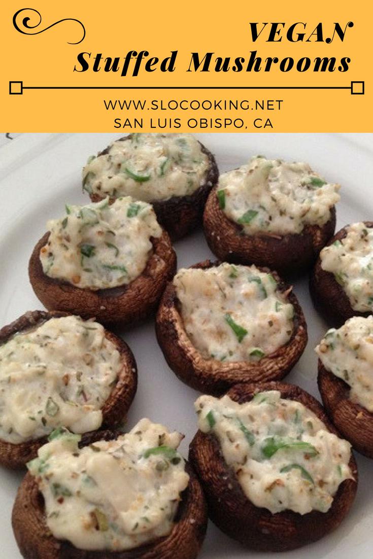 Dairy Free Stuffed Mushrooms from sloCooking.net #veganrecipes #veganfood #allergysafe #RawVegan