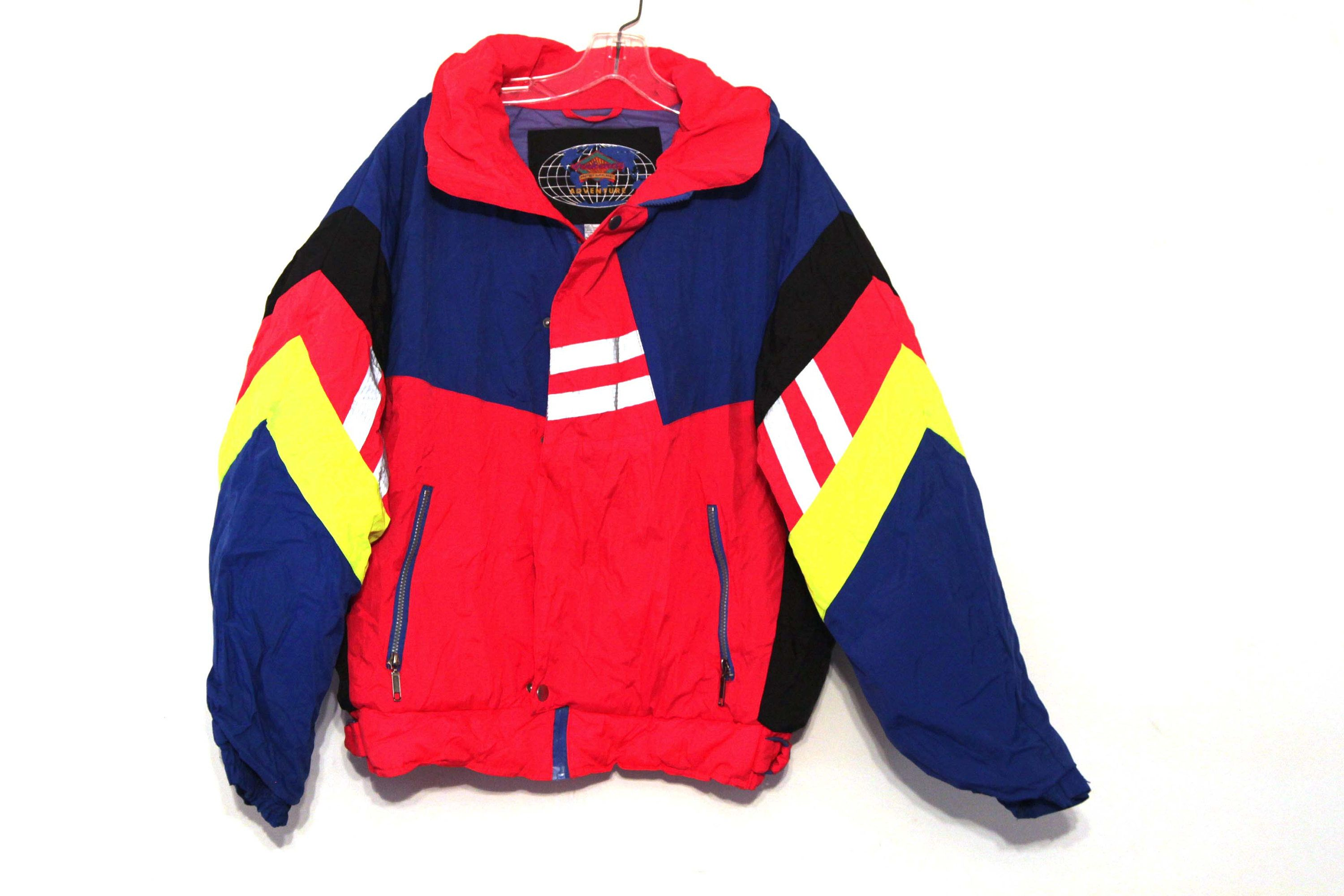 Vintage 80s neon coat ski jacket blue red yellow