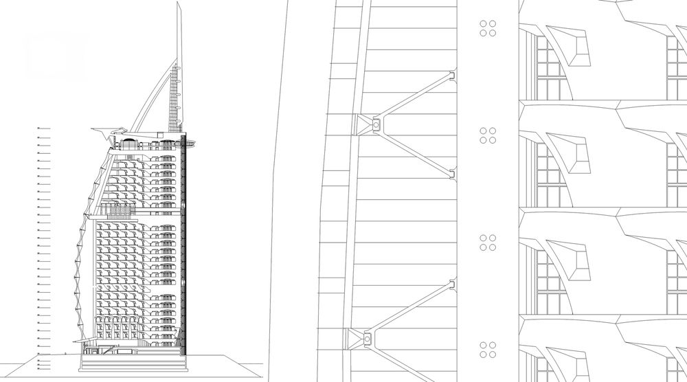 Burj Al Arab Section WKK copyjpg Hotel Burj Al Arab Pinterest - copy blueprint network design