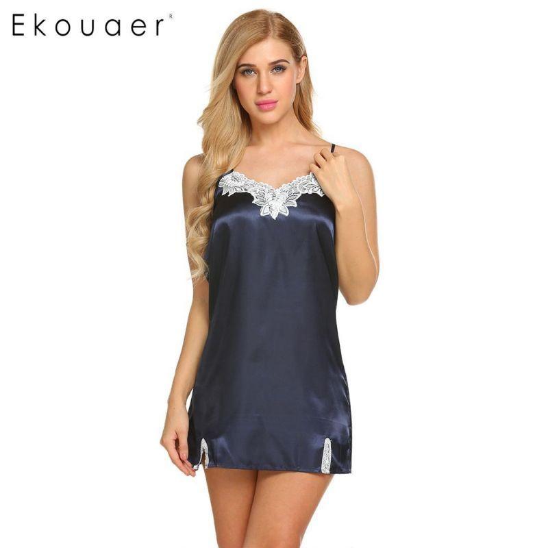 37f27d8bca Sexy stain nightgown women spaghetti strap split hem lace trim sleepwear  dress summer slim mini nightwear