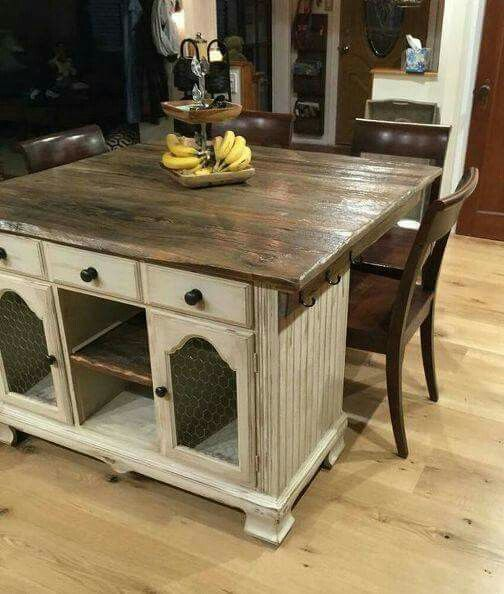 Kitchen Island Made From Old Desk: From Buffet To Rustic Kitchen Island