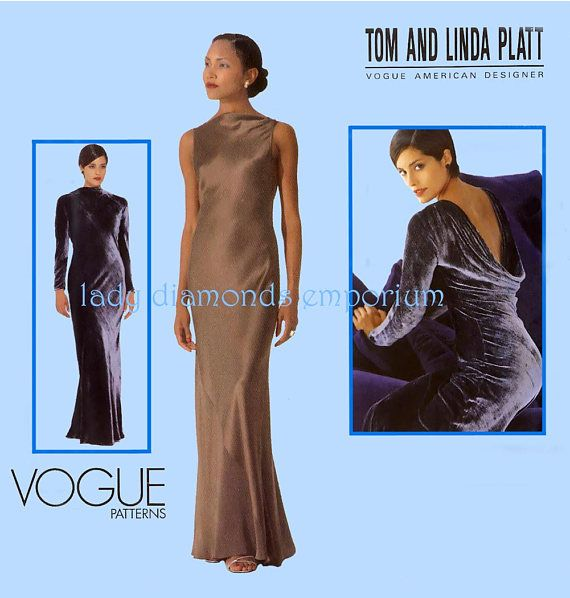 Vogue 2234 Tom &Linda Platt Designer Evening Dress with High | 1990s ...