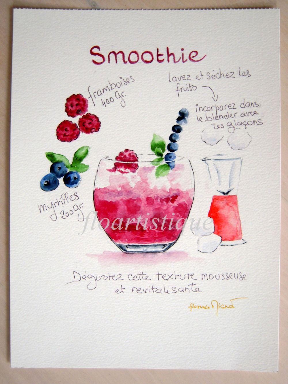 Affiche Smothie Framboises Myrtilles Peint A L Aquarelle
