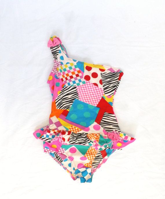 Vintage Kids 80s 90s Polka Dot Zebra Striped Checkered One