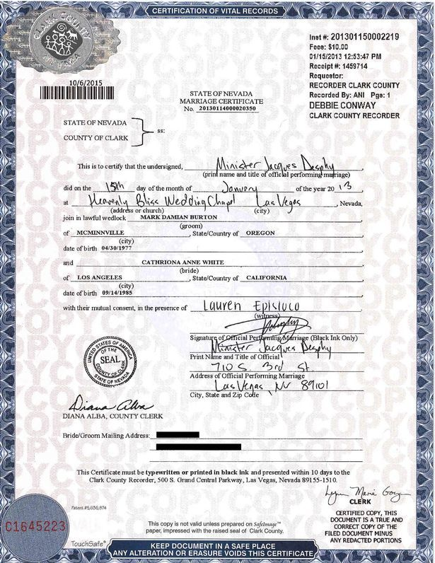 This Is The Marriage Certificate For Cathriona White And Cameraman Mark Burton