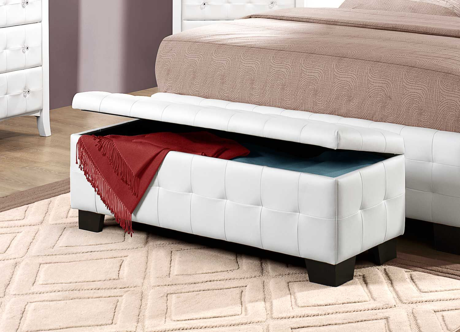 Homelegance Sparkle Upholstered Storage Bench Storage Bench Bedroom White Storage Bench Bed Bench Storage