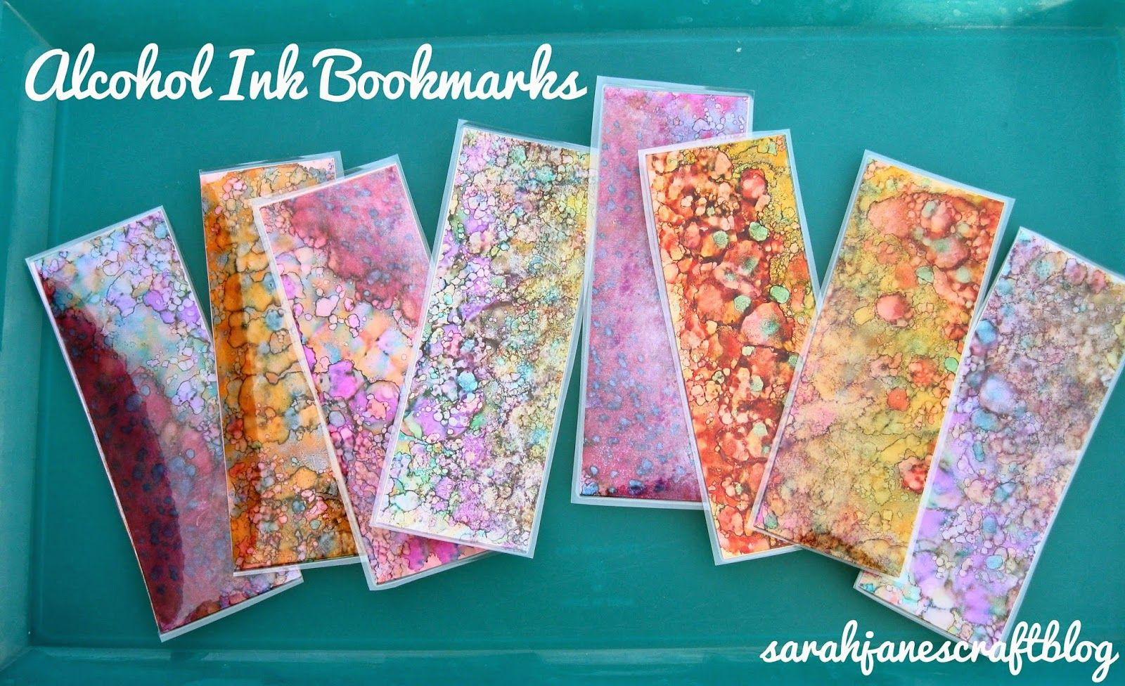 Sarah Jane's Craft Blog: Alcohol Ink Bookmarks #alcoholinkcrafts