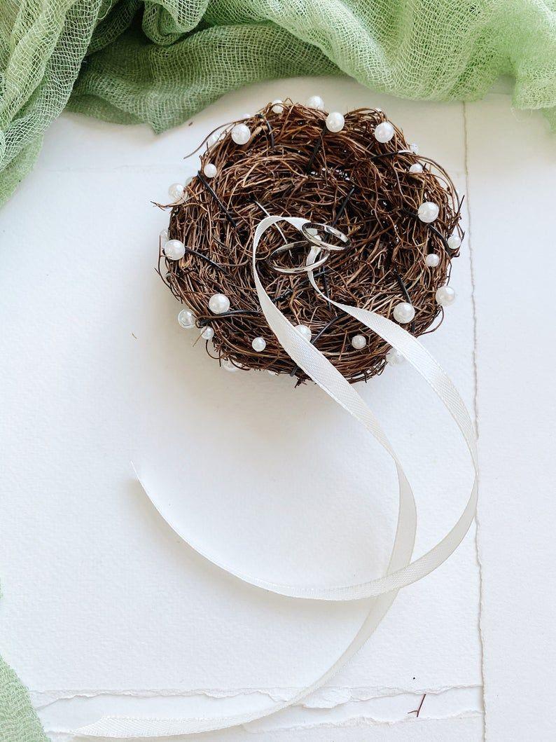 Wedding ring bearer nest, pearl engagement ring box, twig ring box, pearl ring box, pearl ring pillow, rustic ring bearer,rustic wedding