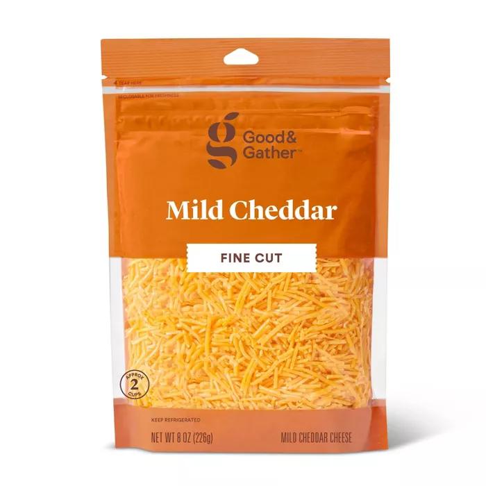 Finely Shredded Mild Cheddar Cheese 8oz Good Gather Mild Cheddar Cheddar Cheese Cup Of Cheese