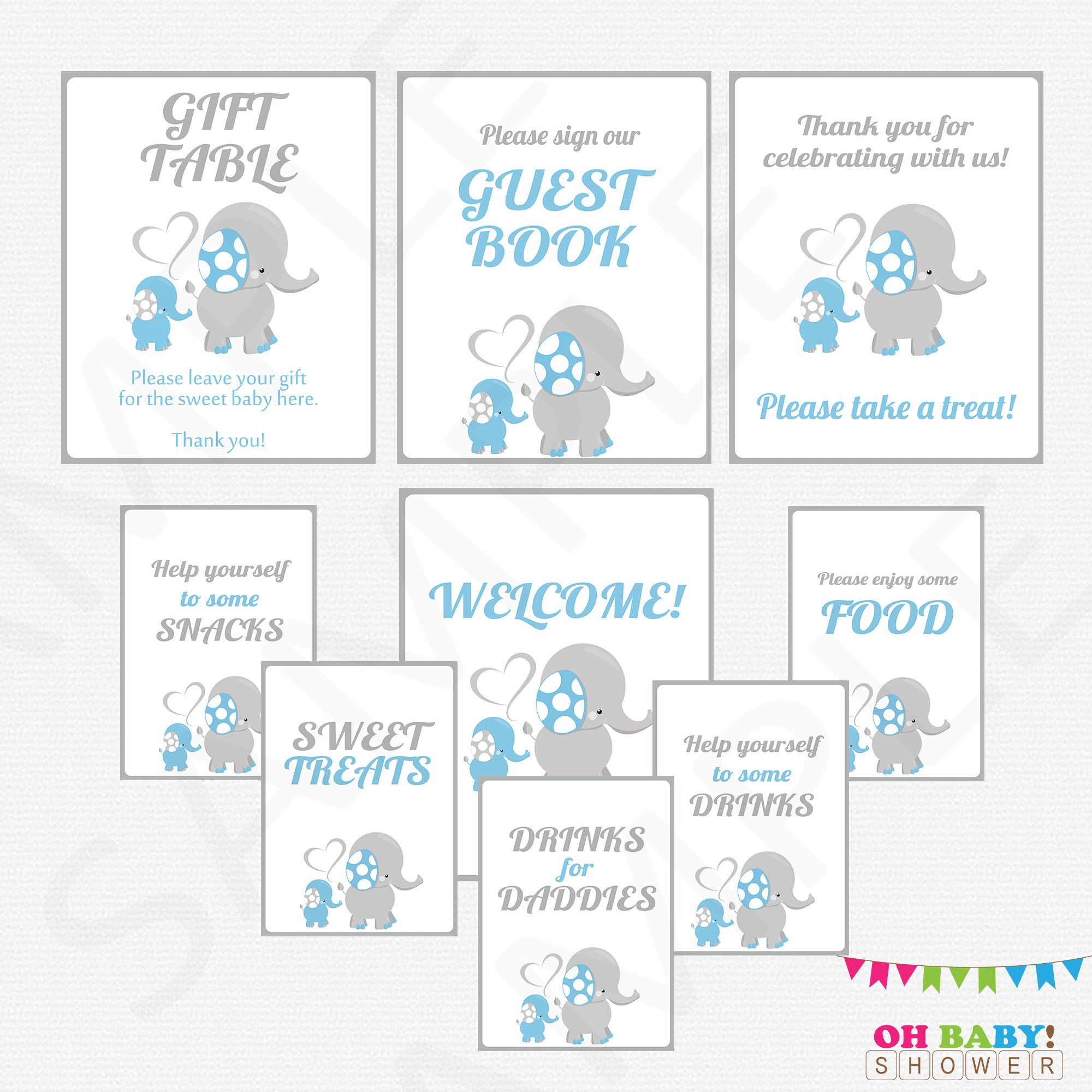 Elephant Baby Shower Decorations 9 Baby Shower Signs Printable